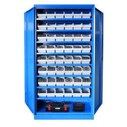 Armoire Haute IDEO 100 Porte Battante 8 Étagères 48 Bacs à Bec 3L