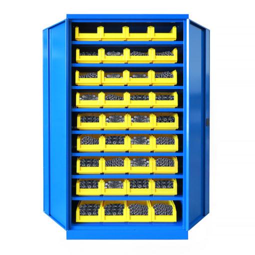 Armoire Haute IDEO 100 Porte Battante 8 Étagères 36 Bacs à Bec 8L
